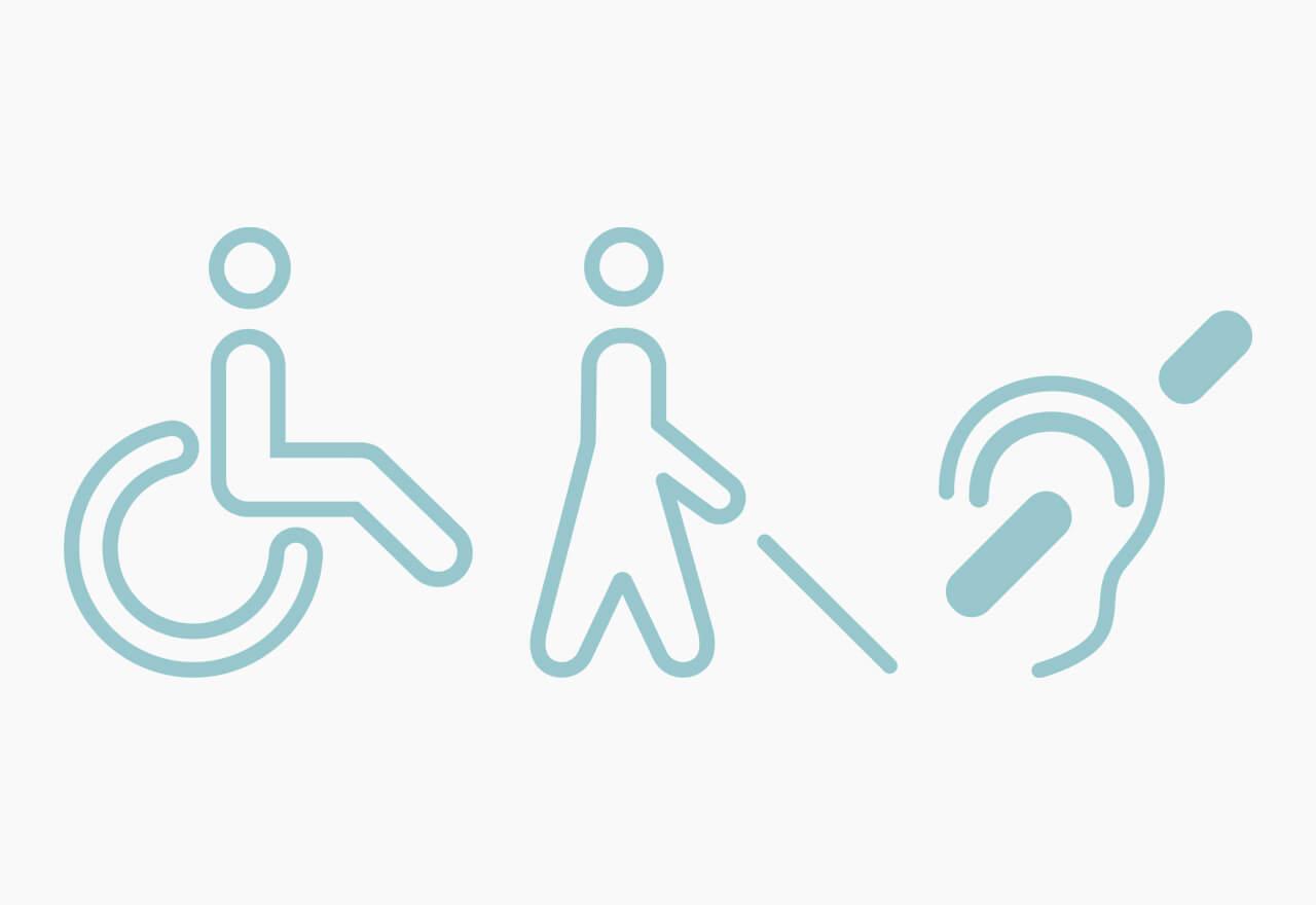 Illustration von einer Person im Rollstuhl, einer Person mit Blindenstock und dem Symbol für Gehörlosigkeit