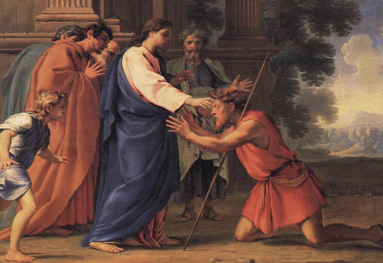 """Ein Ölgemälde von Eustache Le Sueur mit dem Namen """"Jesus heilt den blinden Mann"""". Bartimäus kniet vor Jesus. Dieser hält seine Hand schützend über Bartimäus' Kopf."""