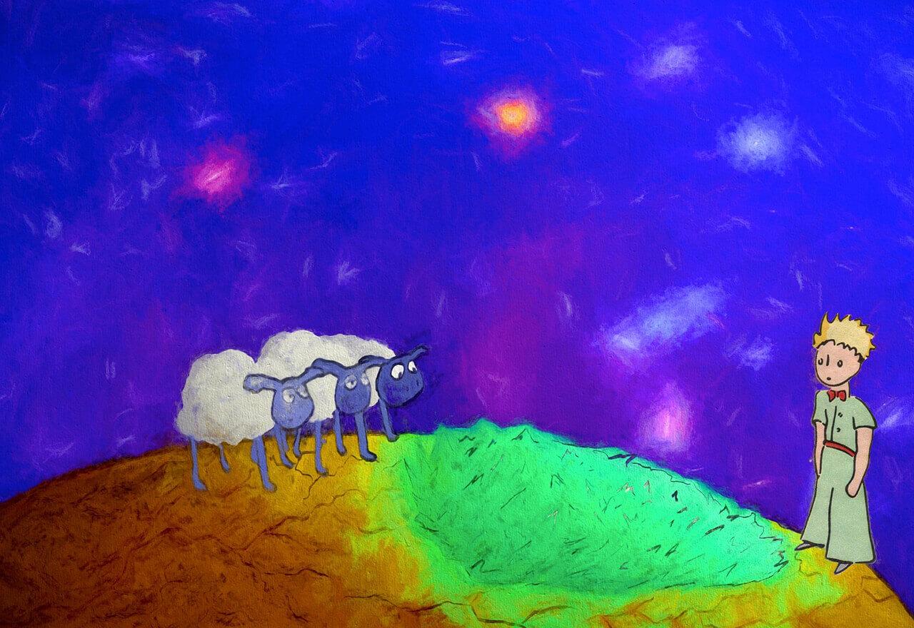 Eine Zeichnung des kleinen Prinzen: Ein dunkelblauer Hintergrund. Der kleine Prinz steht auf einem Planeten dessen Oberfläche grün ist. Vor ihm stehen 3 weiße Schafe.