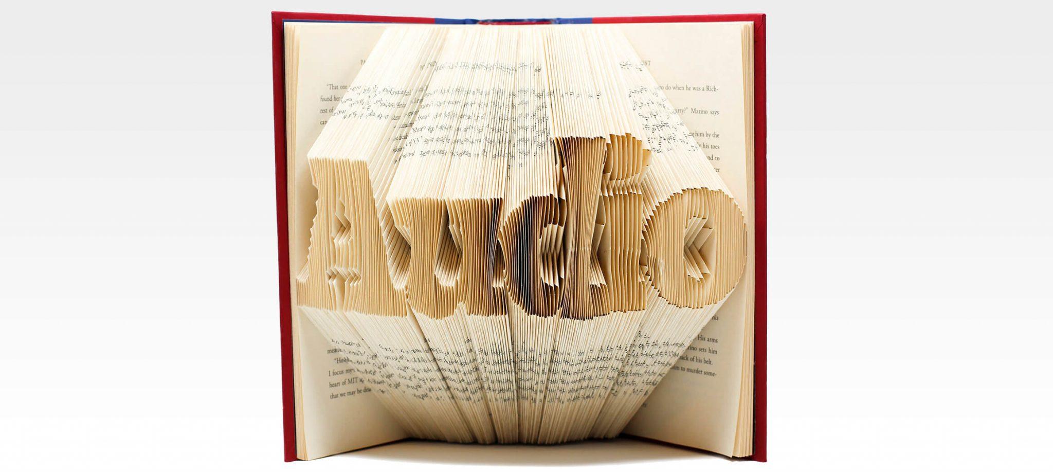 """Ein aufgeschlagenes Buch, dessen Seiten durch eine Falttechnik so zusammengefalten sind, dass das Wort """"Audio"""" dreidimensional aus den Seiten entsteht."""