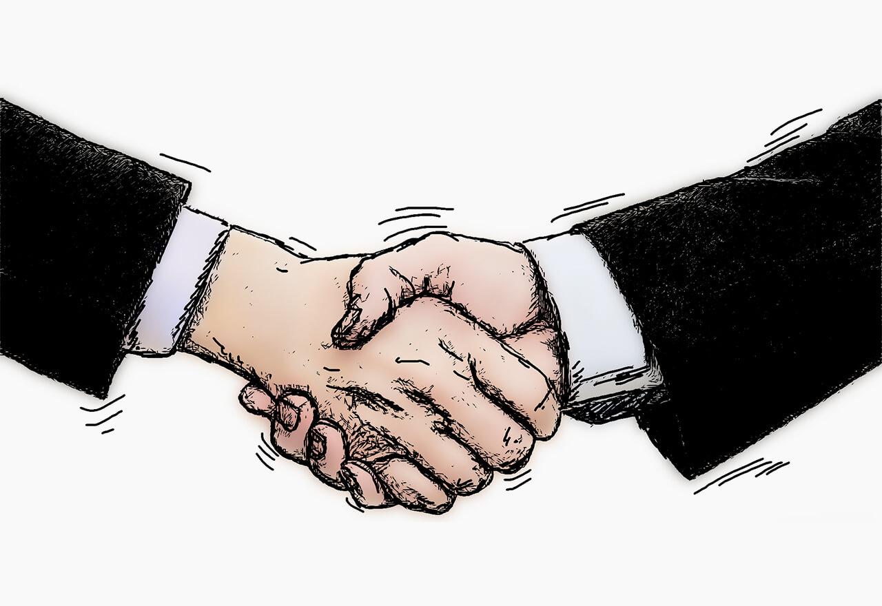 Eine Illustration zweier schüttelnder Hände