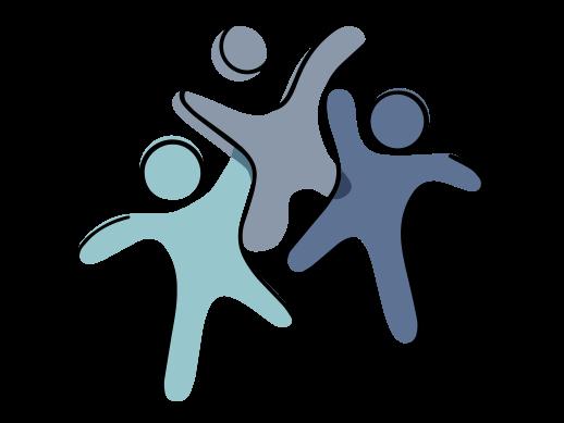 Eine Zeichnung von drei abstrahierten Personen, die umarmt nebeneinander stehen.