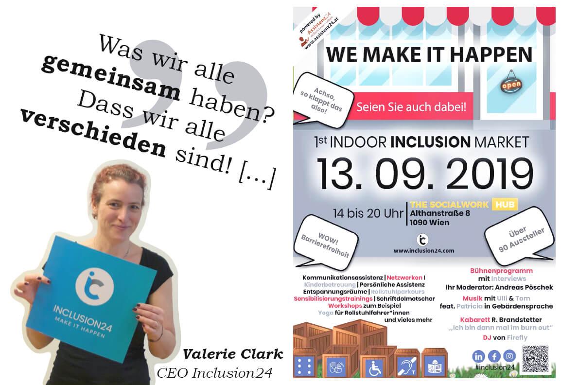 """Links: Foto von Valerie Clarke, CEO inclusion24, mit Zitat """"Was wir alle gemeinsam haben? Dass wir alle verschieden sind."""" Rechts: Die grafische Einladung zur Veranstaltung"""